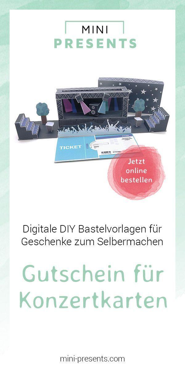 mini-presents | Gutschein für Konzertkarten als Geschenk ausdrucken & basteln | Geschenkideen & Party Deko zum Ausdrucken und Basteln. #konzertkartenverpacken