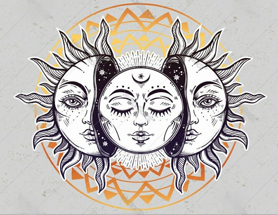 Aesthetic Sun And Moon Drawing