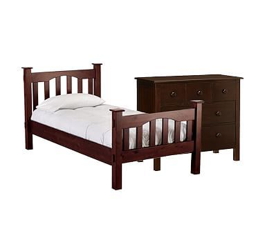 Kendall Twin Bed,Luxury Firm Mattress and Dresser SV Espresso WB