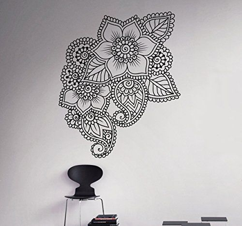 Mehndi Henna Wall Decal Abstract Flowers Vinyl Sticker Henna - Vinyl wall decals abstract