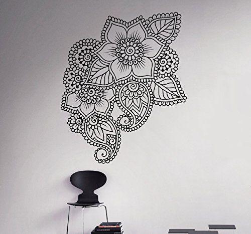 Mehndi Henna Wall Decal Abstract Flowers Vinyl Sticker Henna - Vinyl wall decals abstract
