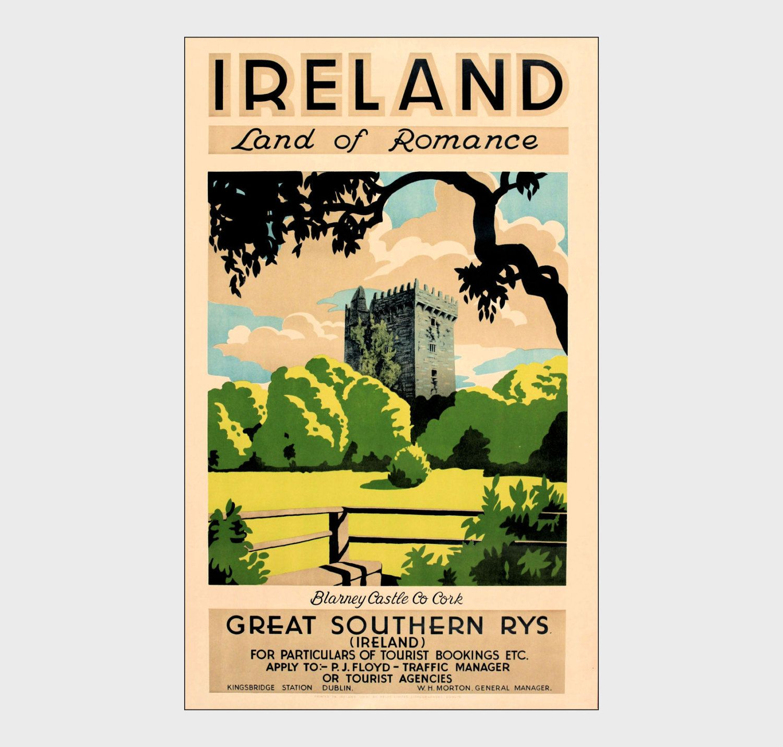 Wall art poster reproduction. Dublin : Vintage Irish Travel advertising