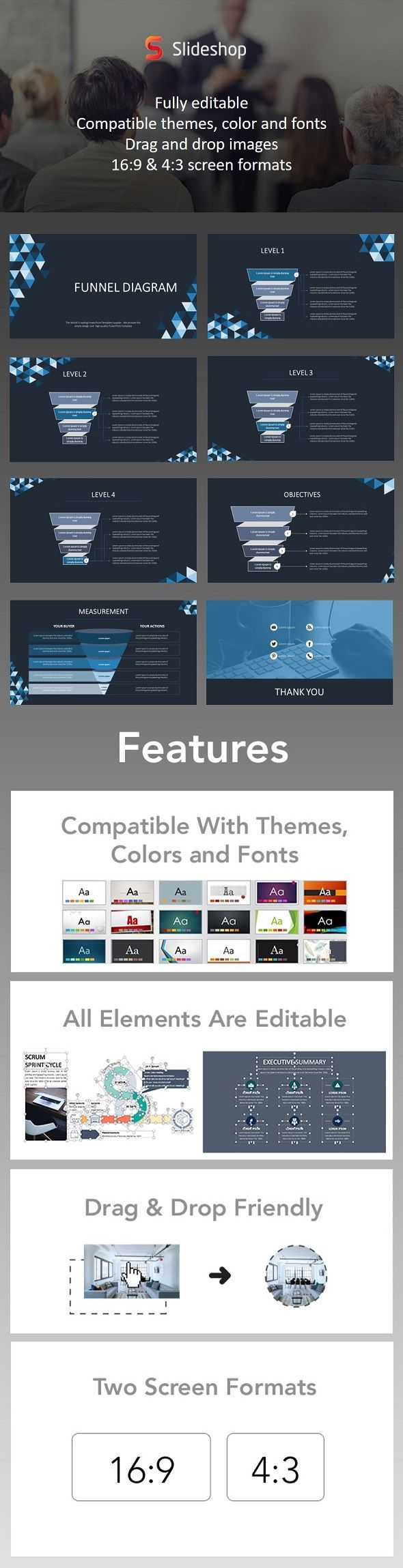 Funnel Diagram Animation Blue Presentation Templates Template And
