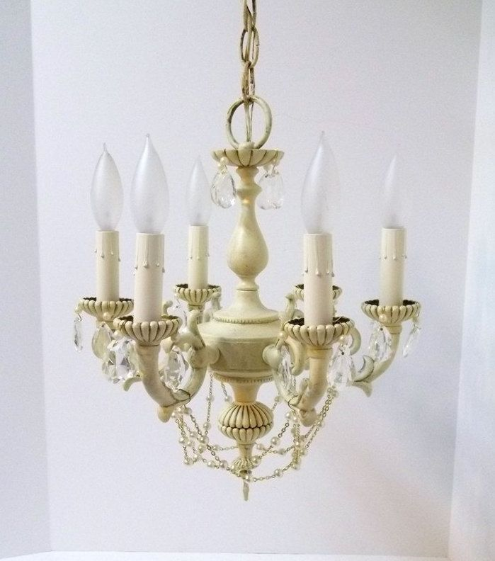 Small Antique White Six Light Crystal Chandelier Petite Crystal Pearl  Shabby Chic Girls Room Chandelier Nursery