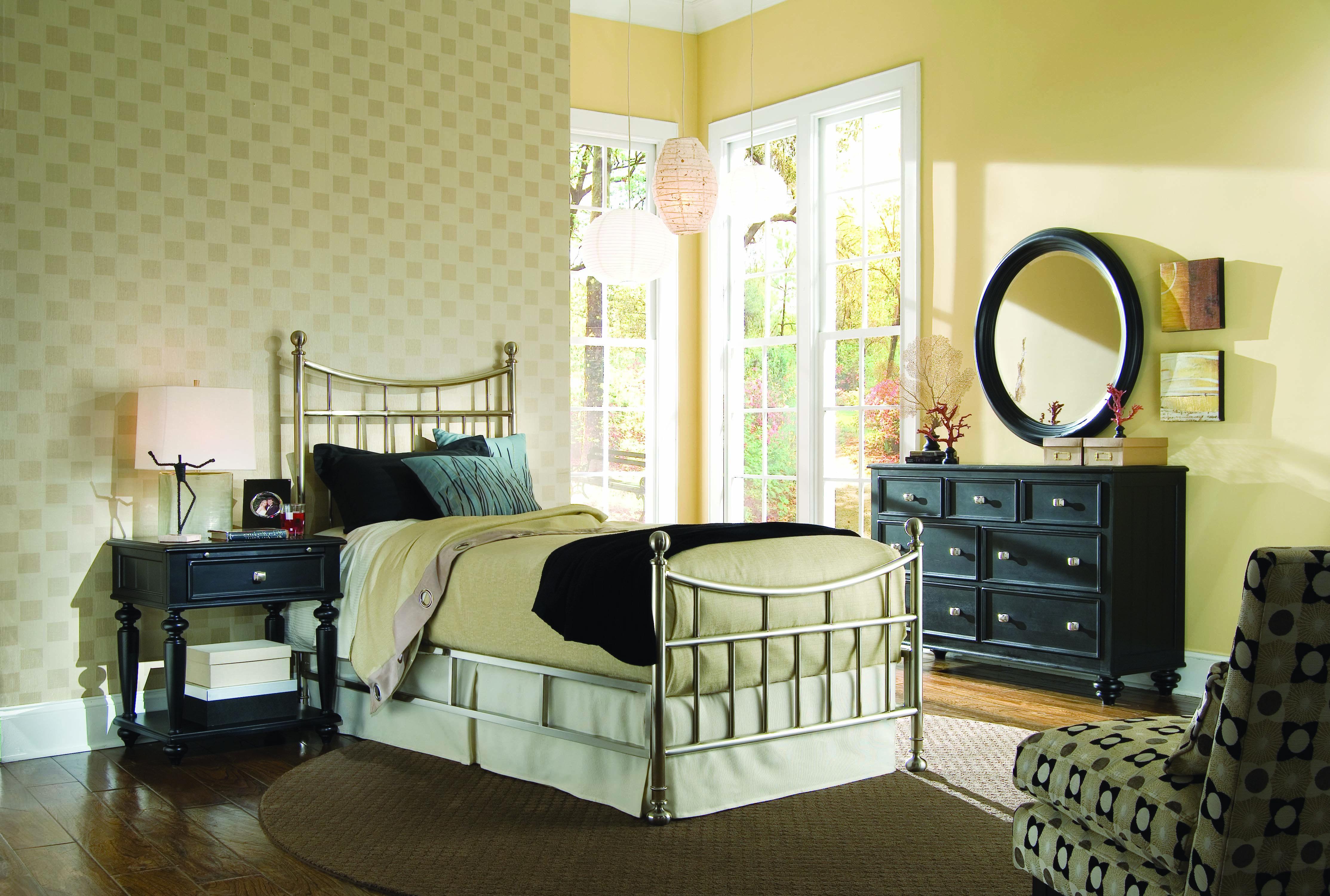 Camden black bedroom metal bed 46 brushed nickel