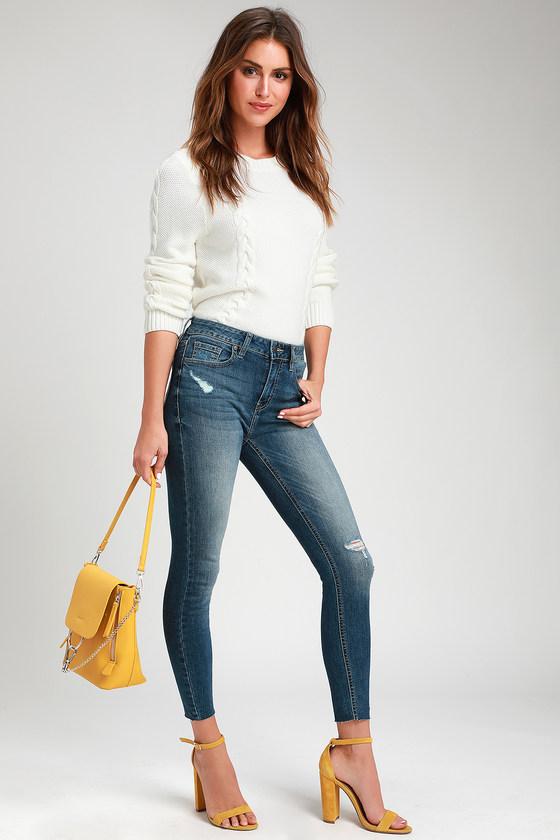 Clara Faded Medium Wash Distressed Skinny Jeans | Skinny