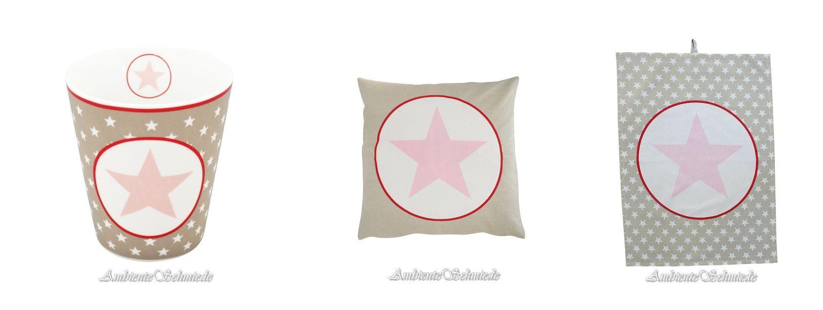 Krasilnikoff Big Star Stern Sterne beige taupe sand mit rosa und rot ...