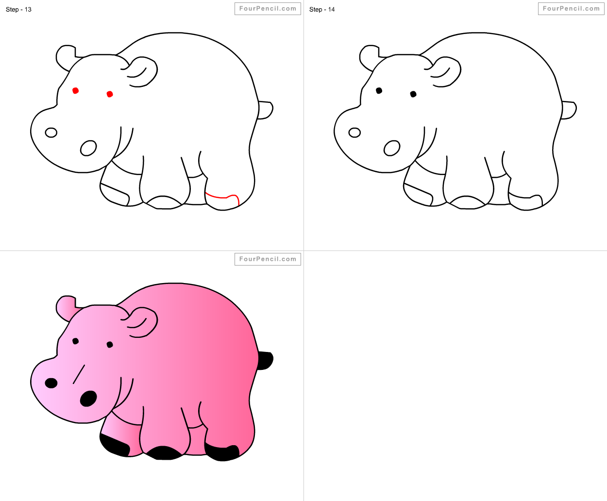 Uncategorized How To Draw Hippo how to draw hippopotamus for kids step by drawing tutorial kids
