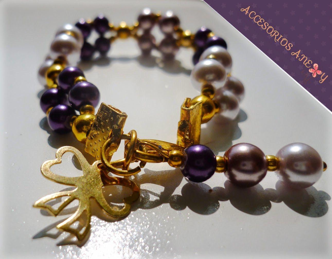 Elegante pulsera de perlas y dije de Chapa de oro |