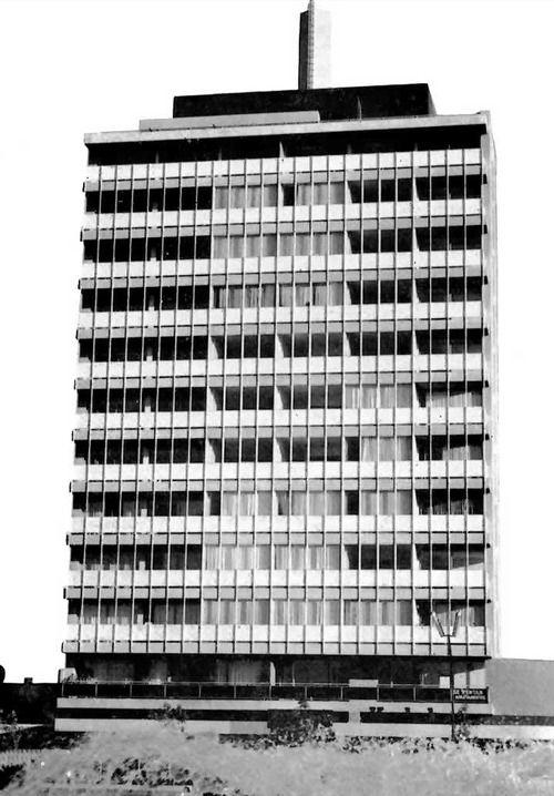 """Torre Minerva / Edificio Moragreca,     Av. Vallarta Poniente, Guadalajara, Jalisco, México, 1960.  Arq. Erich Coufal -- Minerva Tower or Moragreca Building"""" Guadalajara, Jalisco, Mexico, 1960"""