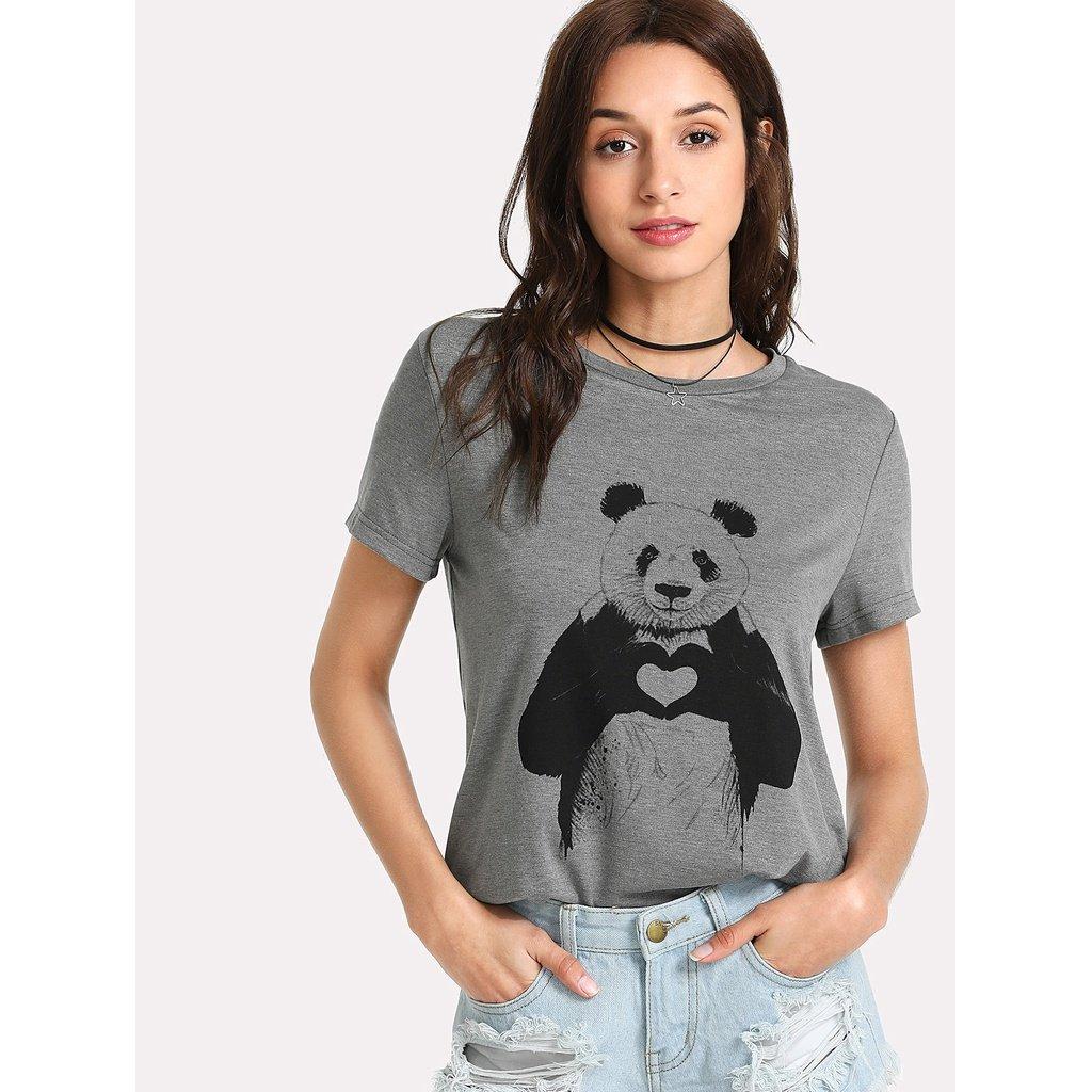 Panda Print Heather Knit T-shirt