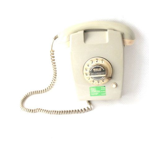 PTT Ericson telephone- grey/cream telephone- vintage wall phone- 1965- comfort and strength- industrial Dutch design- industrial electronic