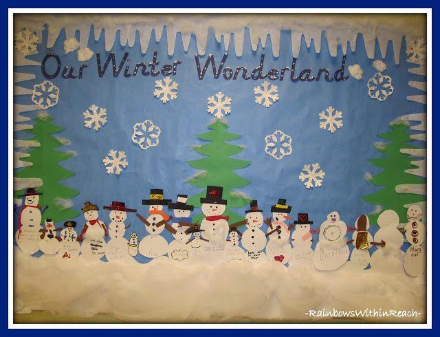 Winter Roundup Snowmen Snowflake Penguin Fun Christmas Bulletin Preschool Boards