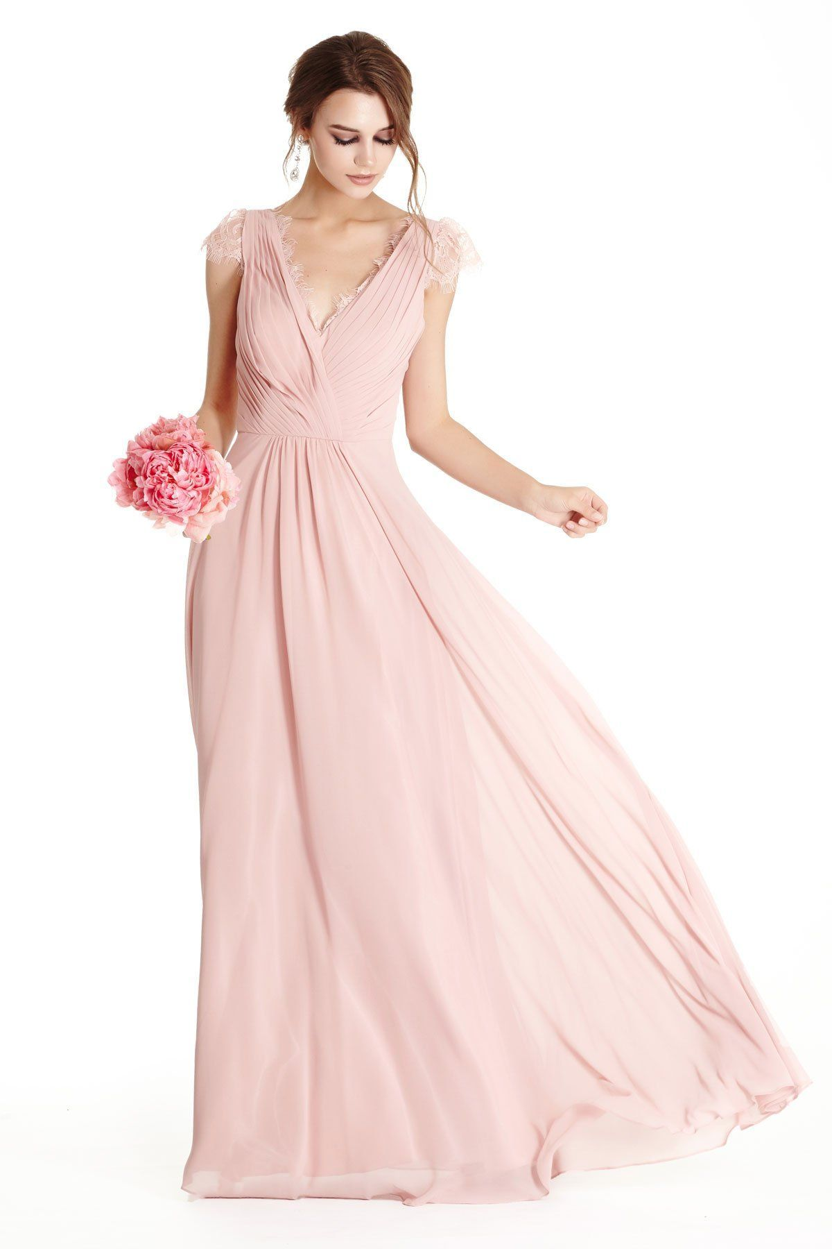 Aline full length bridesmaid evening gown has pleated
