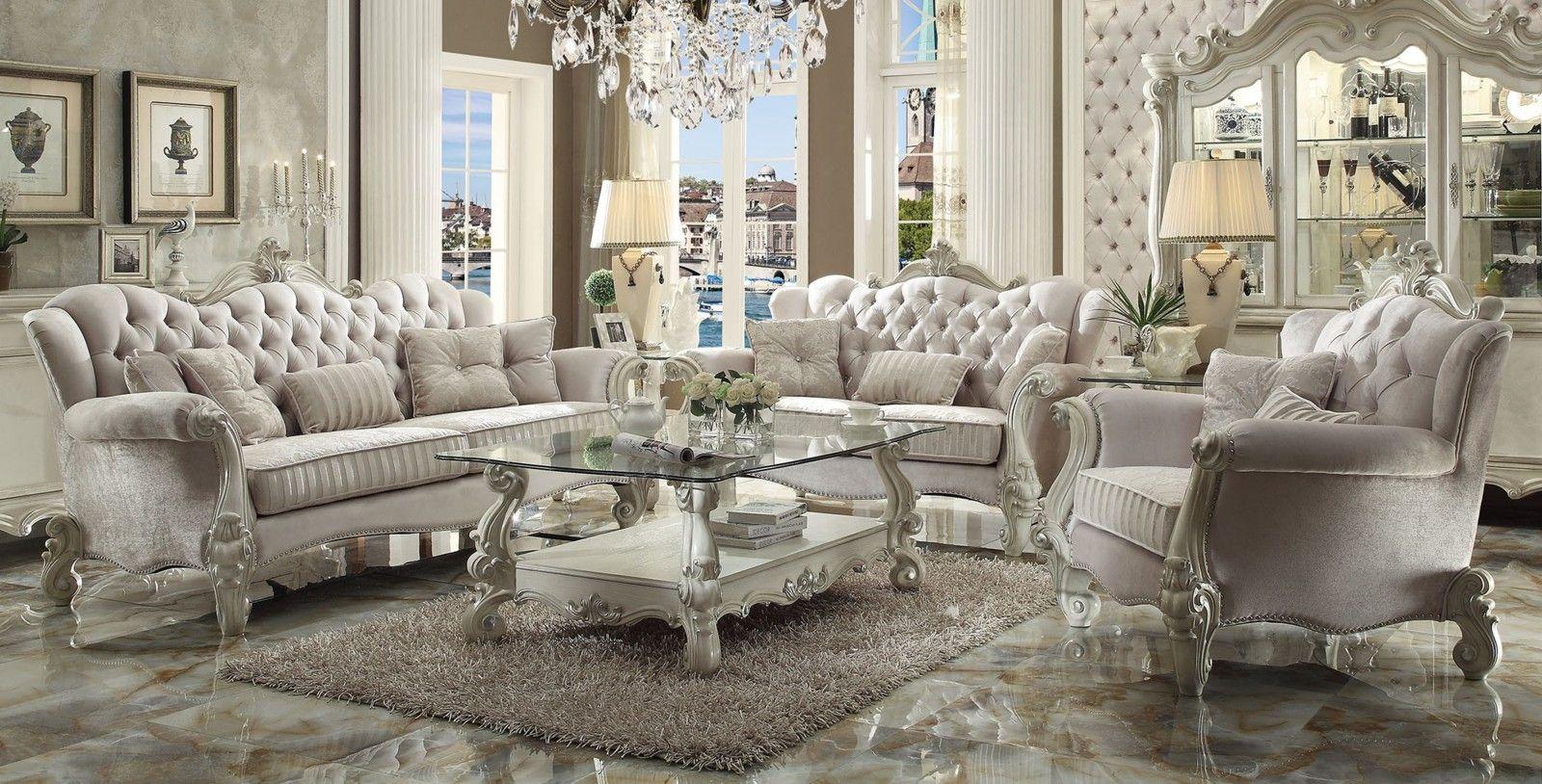 Acme Versailles 2-Piece Living Room Set in Ivory Velvet & Bone White ...