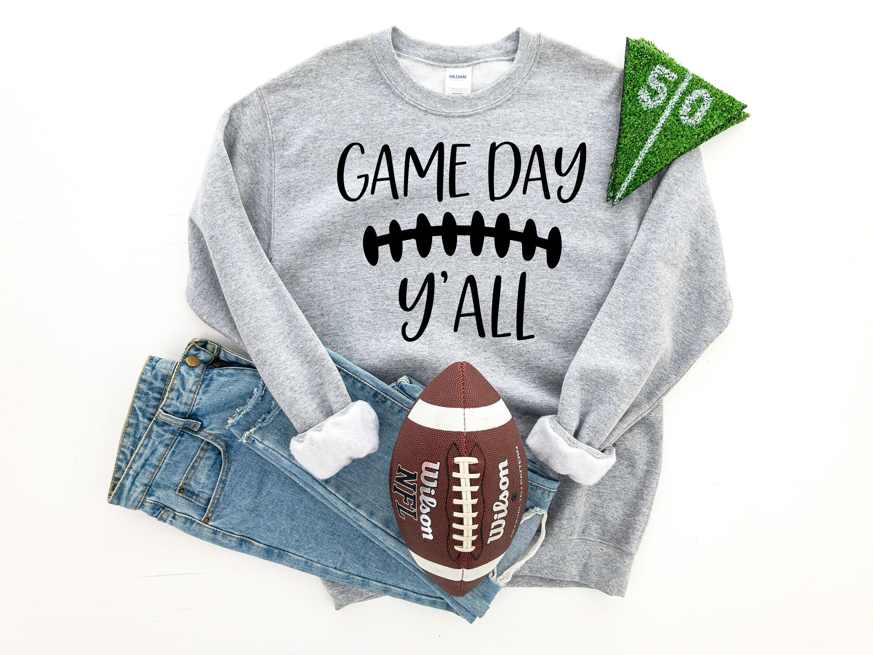Game Day Y All Crewneck Sweatshirt By Autumnanddecember On Etsy Crew Neck Sweatshirt Sweatshirts Football Sweater [ 2250 x 3000 Pixel ]