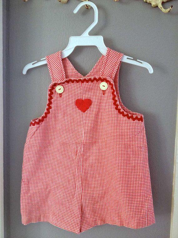 Vintage Toddler OOAK Red Gingham Short Jumper 18-24 Months