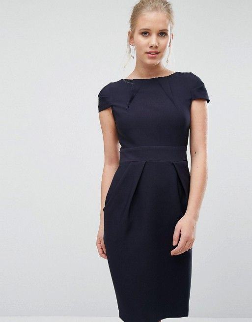 d8a8f5ab85aee Closet Cap Sleeve Midi Pencil Dress with Tie Back | Beauty | Pencil ...