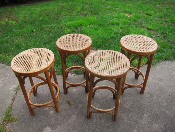 Lovely 4 Vintage Bamboo Bent Wood Barstools Chair Romania Mid Century Modern Bar  Stool Bamboo Wicker Chairs Amazing Ideas