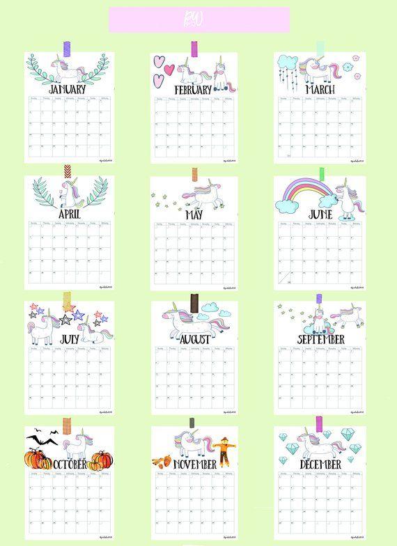Printable Calendar Pages 2019, 2019 Calendar, Printable Calendar, Unicorn Calendar, 2019 Unicorn Cal