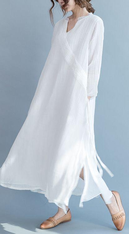 fd37c0bac91 2017 flowy fine white linen maxi dresses summer caual silk dress traveling  gown
