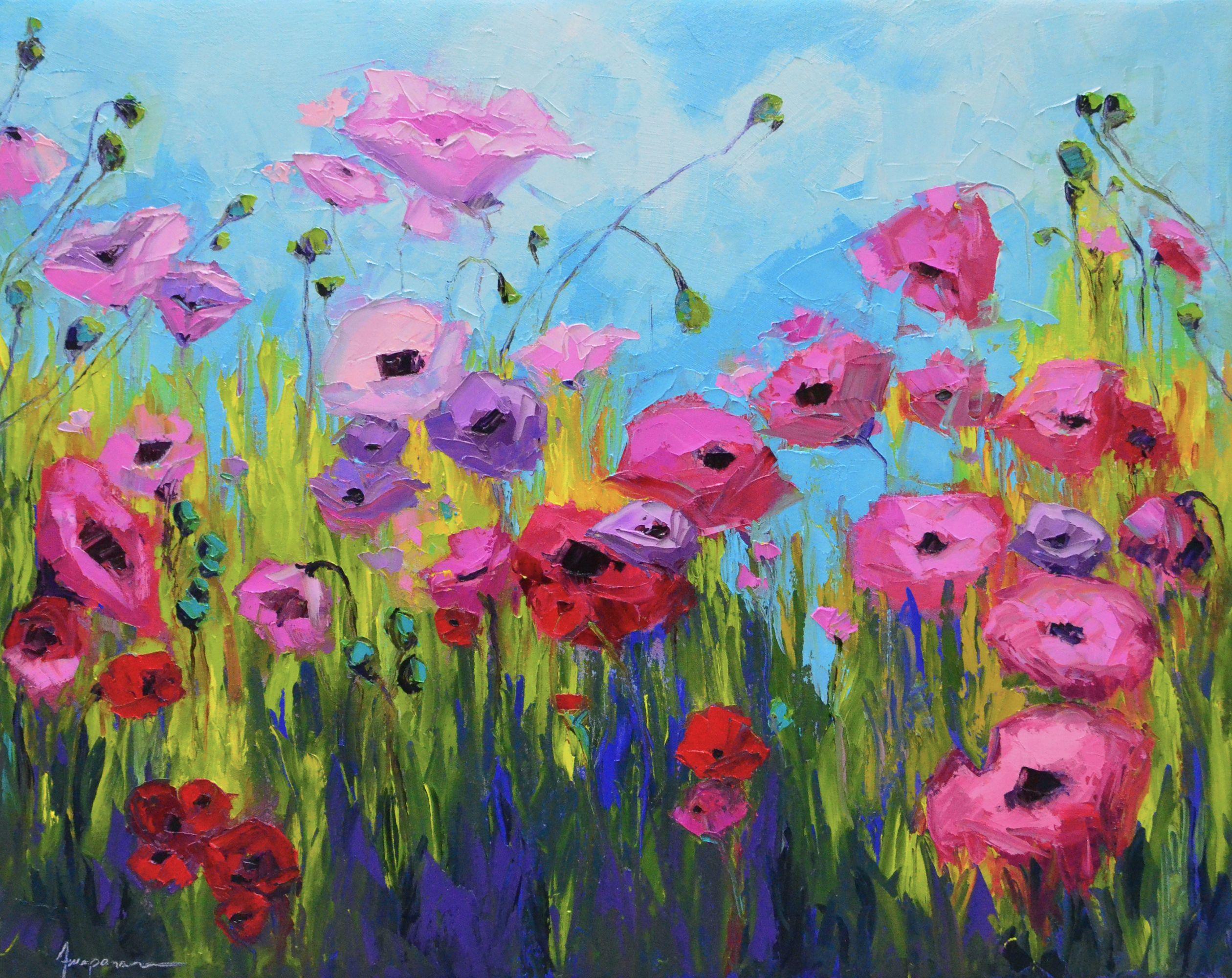 Pink Poppy Flower Field Oil Painting 30x24 A Joyful Scene Of