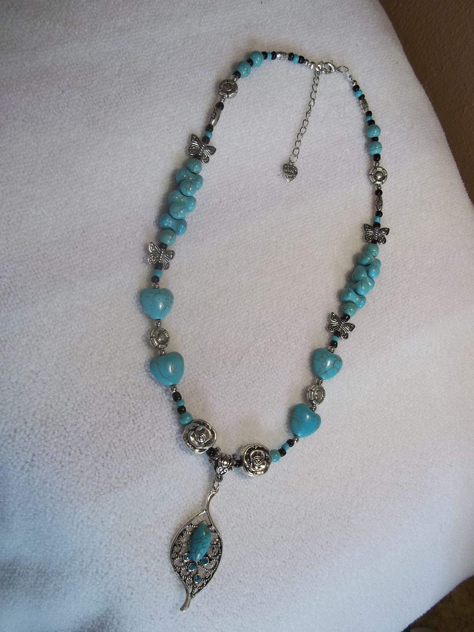 Multi Silver Charm Multi Turquoise Beads w/Turquoise Silver Tear Drop Necklace