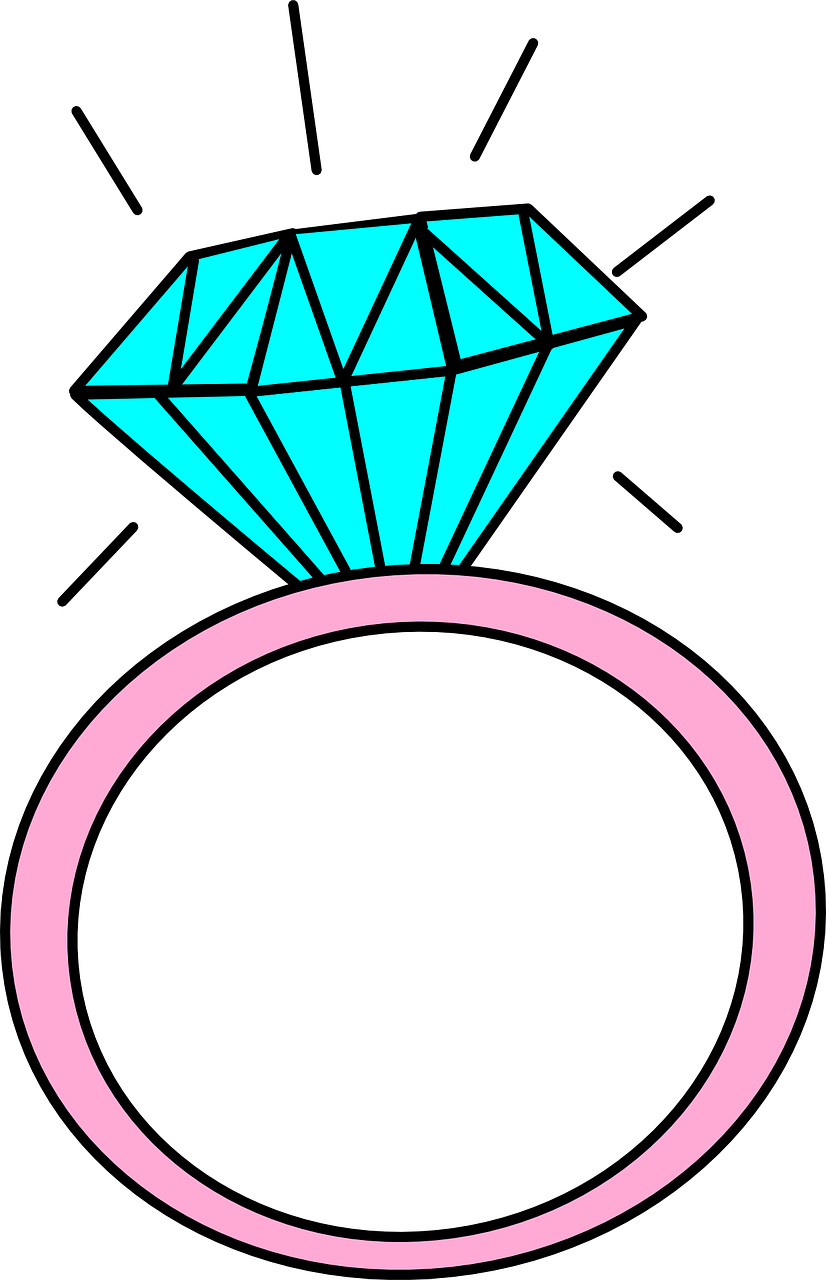 Jewelry, Ring Cartoon Diamond Big Isolated Drawing