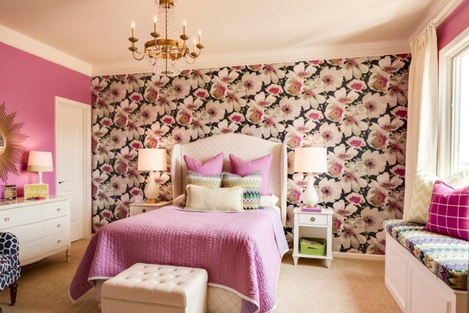 Purple And Pink Bedroom With Floral Accent Wall Teenage Girl