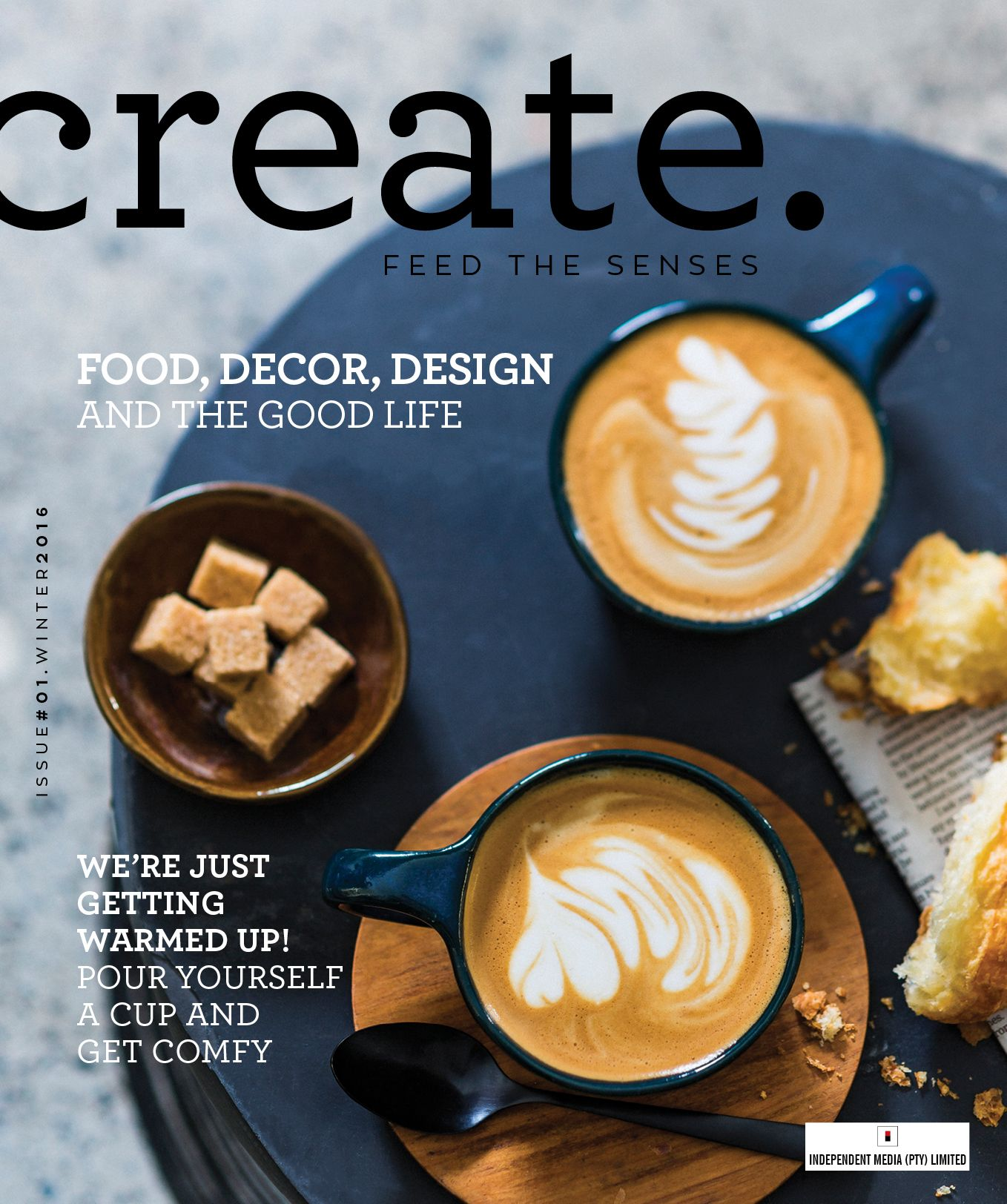 Create. Magazine Issue 1 Cover (unpublished). Art direction/design: Julie Taylor Styling: Anke Roux Photo: Michael la Grange Location: St. James coffee shop