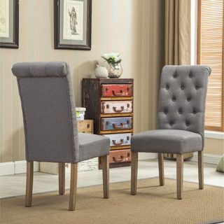 Habit Solid Wood Tufted Parsons Dining Chair (Set of 2) | Overstock ...