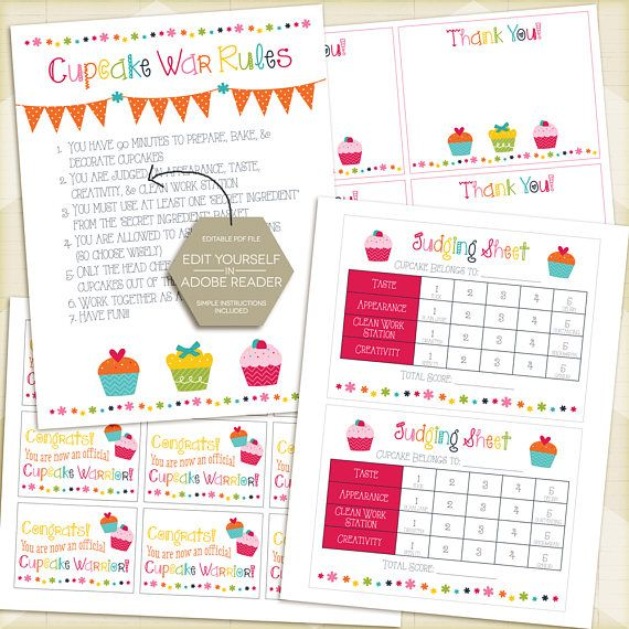 CUPCAKE Wars Party Package / Cupcake Wars Birthday, Rules, Judging Sheet, Thank You Cards, Favor