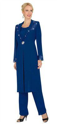 a7c84c7cd7c Misty Lane 13535 Blue Womens Formal Evening Duster Jacket Pant Suit 12 20  Is