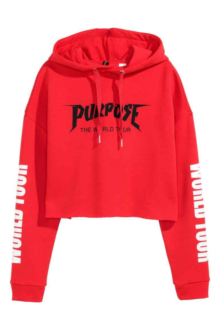fac69ed4046f Cropped capuchonsweater - Rood Justin Bieber - DAMES