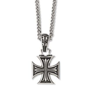 pendant rugged maltese black necklace ebay bhp silver cross iron stainless steel heavy