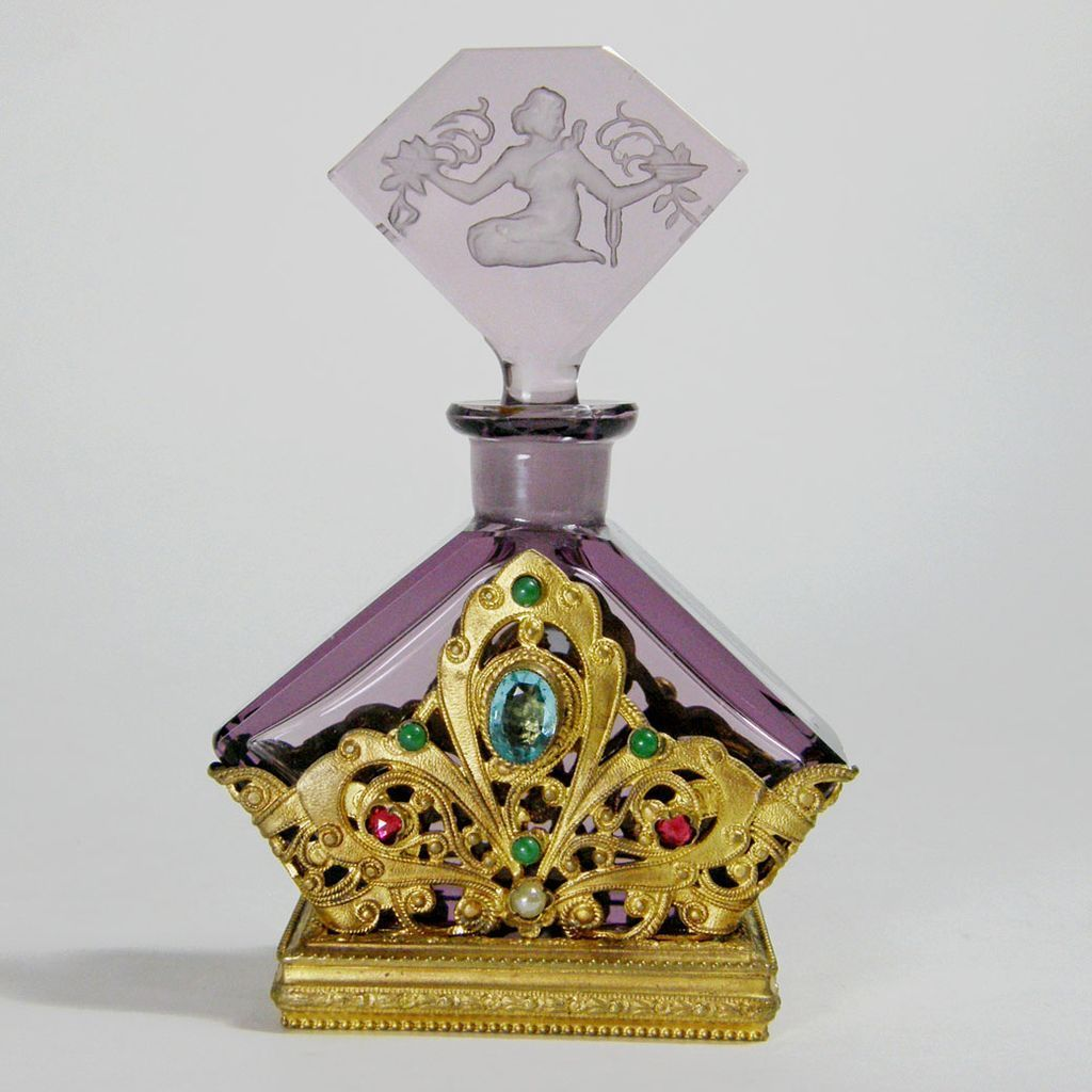 Czech Jeweled Perfume Bottle Amethyst from