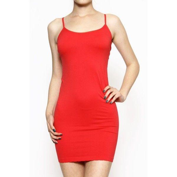 9f250ed867c New Seamless Tank Top Dress Red Stretch Camisole Long Tank Layering Mini  Dress  7.99