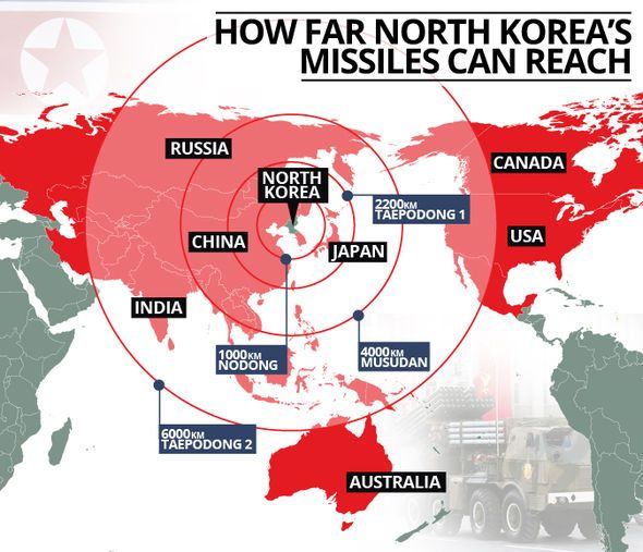 Mapped the countries north korea can now hit with a nuclear warhead a map showing the potential targets gumiabroncs Image collections