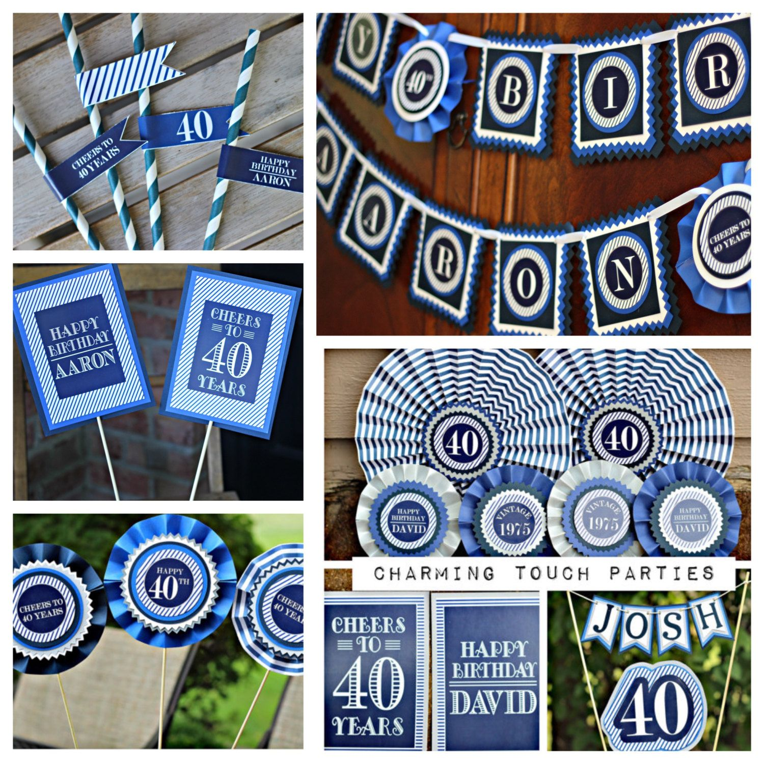 Modern and Masculine Happy Birthday Party Decoration Box.  7 piece blue party decor.  Any Age.  Fully assembled and customizable. by CharmingTouchParties on Etsy