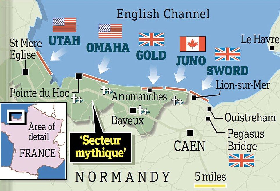 Normandy Beaches Map Back on the beaches one final time: D Day heroes return to