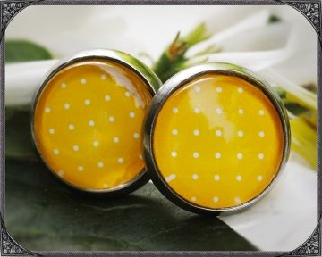 Yellow stainless steel earstuds with Polka Dots Gelbe Edelstahl Ohrstecker mit Polka Dots