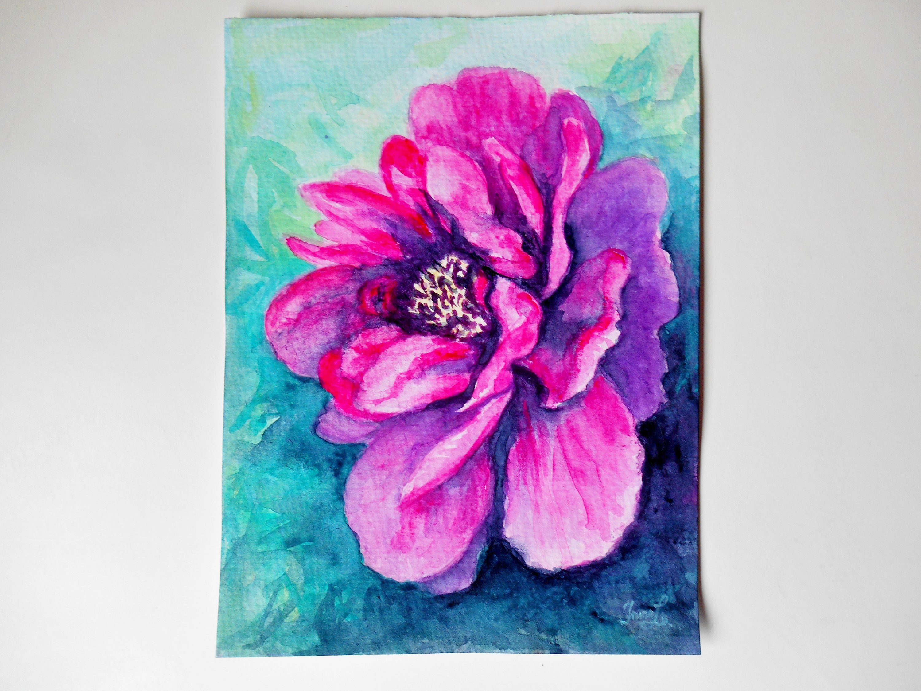 Sale Watercolor Original Painting Watercolour Peony Painting