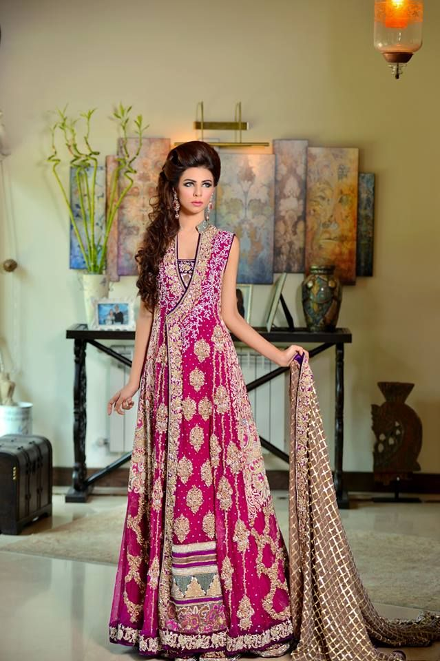 Fuchsia lengha with long jacket by Rani Emaan | Dresses I Love ...