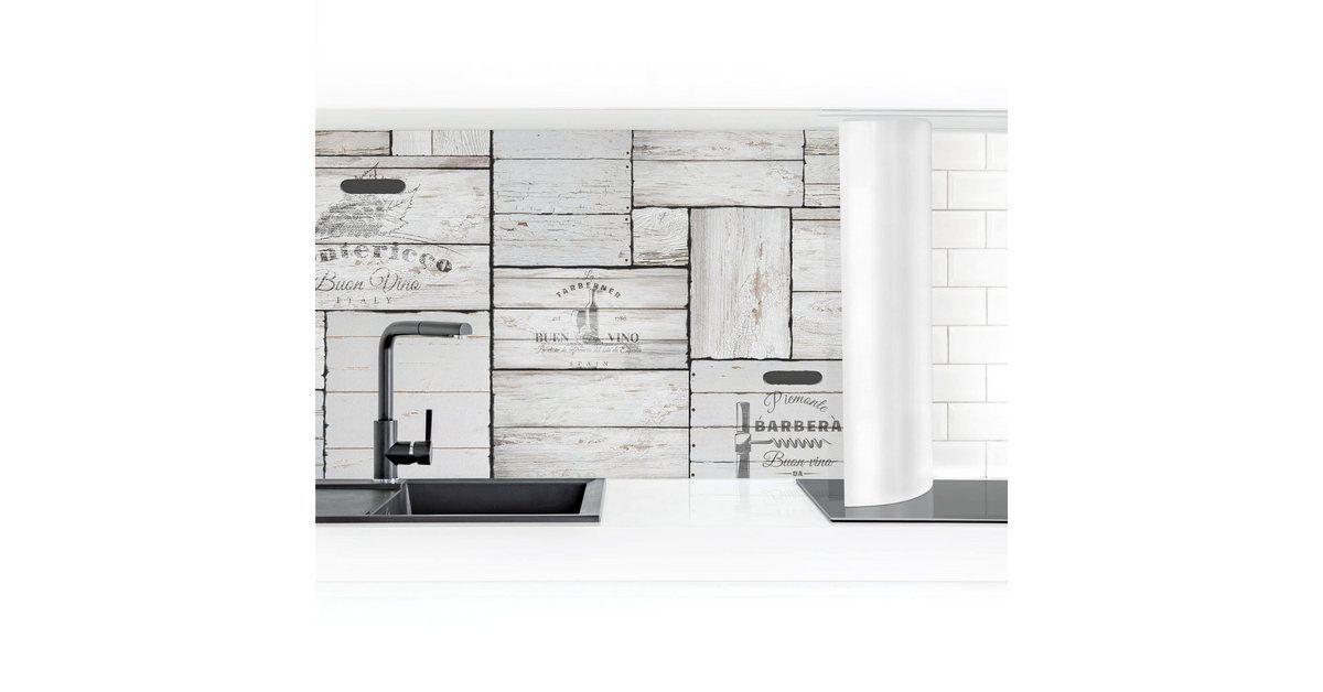 Küchenrückwand »Shabby Holzkisten« #coastallivingrooms