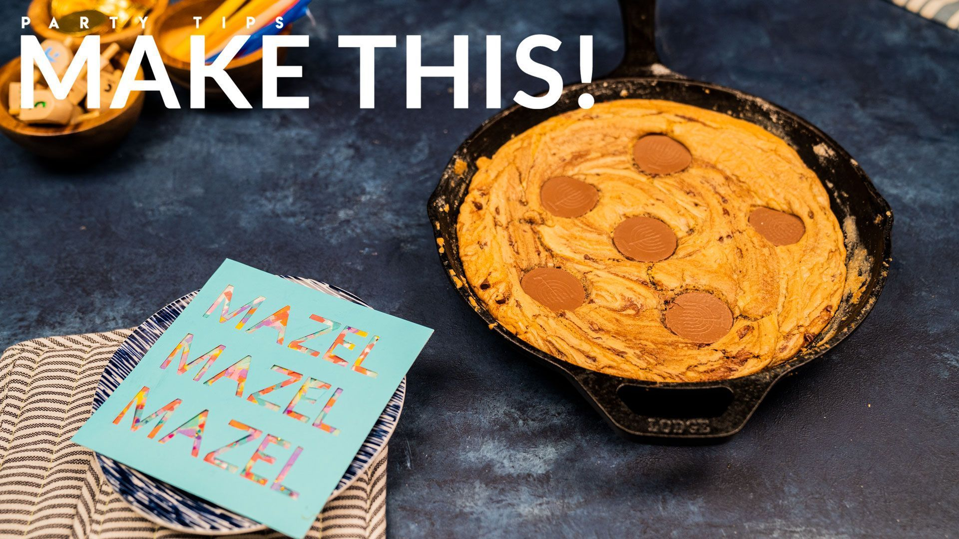 Homemade Gelt Skillet Cookie Cake for Hanukkah  Evite Celebrate Hanukkah with  Homemade Gelt Skillet Cookie Cake for Hanukkah  Evite Celebrate Hanukkah with this recipe f...