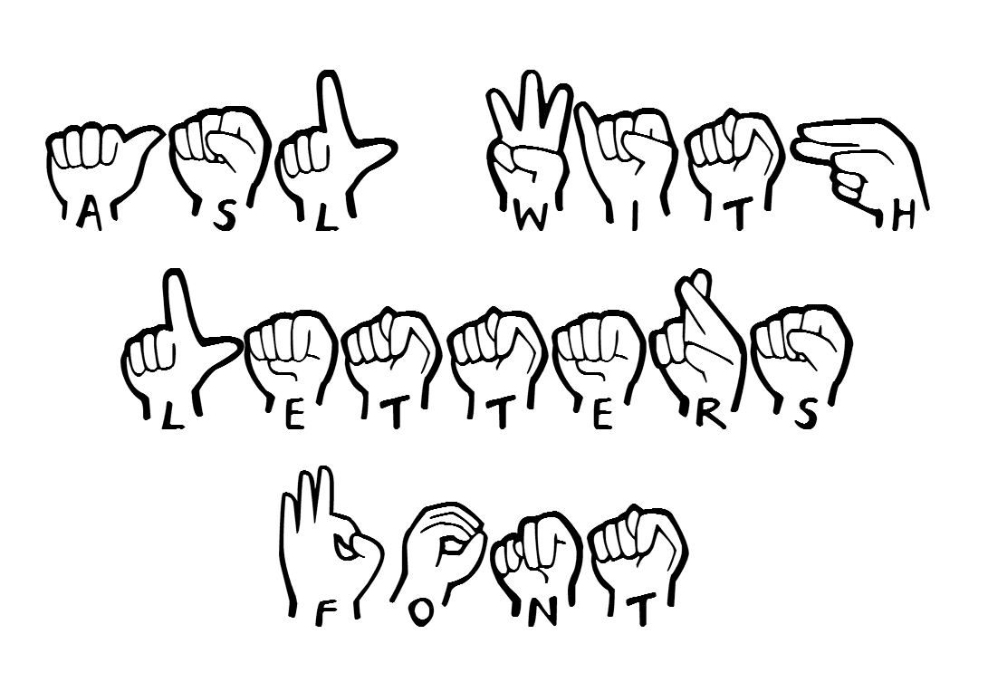 American Sign Language With Letters Font  Instant Download  An