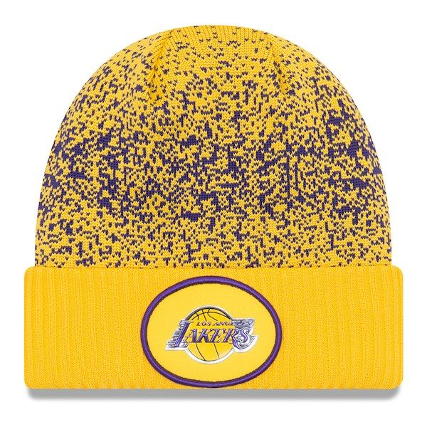 on sale 99c12 aad97 ... italy mens los angeles lakers new era gold on court cuffed knit hat  your price 8d37b