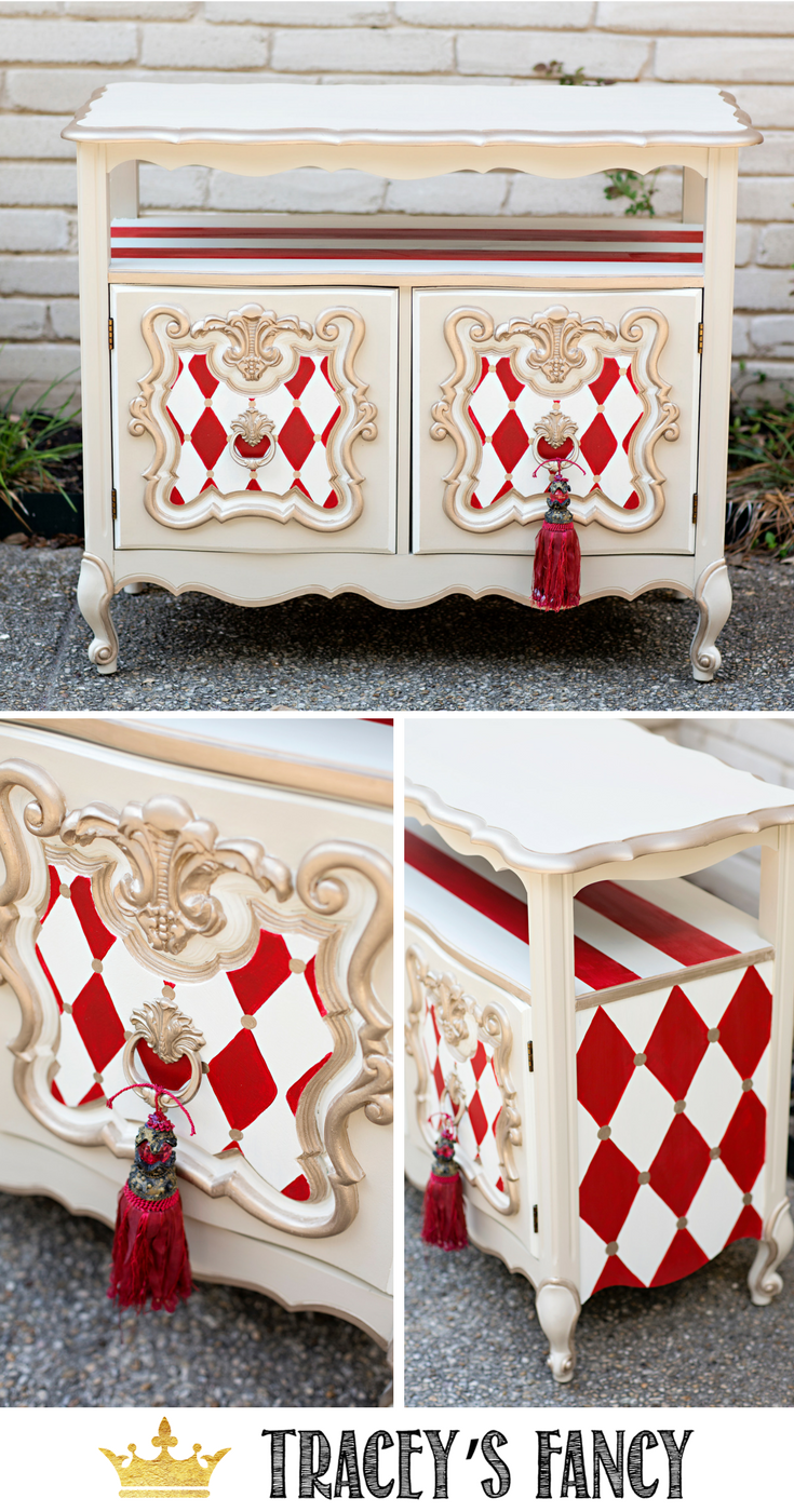 Whimsical furniture red and white harlequin traceys fancy furniture furnituremakeover painted furniture ideas painted coffee cart early american