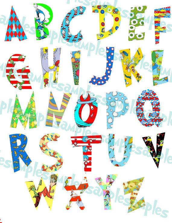 Dr Seuss Alphabet Clipart Printable Font Alphabet Letters Cat