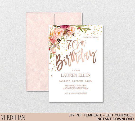 70th Birthday Invitation Blush Rose Gold Party For Women DIY Printable PDF Ins